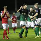 Darragh Noone, Karl Moore and Kevin Lynch celebrate as Kieran Sadlier reacts to the 2nd goal
