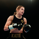 Katie Taylor during her Super-Featherweight fight with Karina Kopinska at Wembley Arena in London