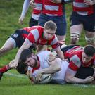 Michael Doyle crosses the Mullingar line to score a try during the Leinster league in Ashtown Lane