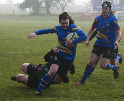 Rathdrum's Caitlin Olahan goes over for a try in Derry. Photos: Noel McMullen