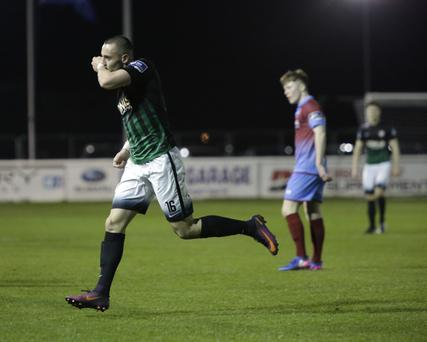 Bray's Dylan Connolly celebrates his goal at the Carlisle on Monday night