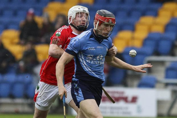 Glenealy's Warren Kavanagh keeps a tight hold of St Anne's Diarmuid O'Keeffe during the Leinster Club Intermediate Hurling championship semi-final in Joule Park, Aughrim. Picture: Garry O'Neill