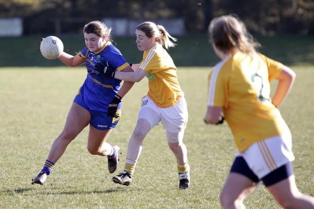 Wicklow's Katie Miley in action against Antrim recently.