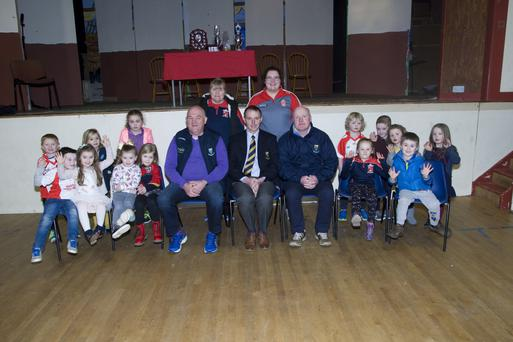 Some young players with mentors Patricia Cush and Aoife O'Neill and special guests John Evans, Martin Fitzgerald and Pat Dunne.