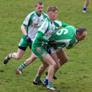 Paudge McWalter finds himself swallowed up during the SFL Division 1 clash between St Patrick's and Baltinglass in Baltinglass on Saturday morning