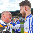 Wicklow manager John Evans with goalkeeper Mark Jackson after the final whistle of the Leinster SFC clash with Offaly on Sunday last. Photo by Piaras Ó Mídheach/Sportsfile