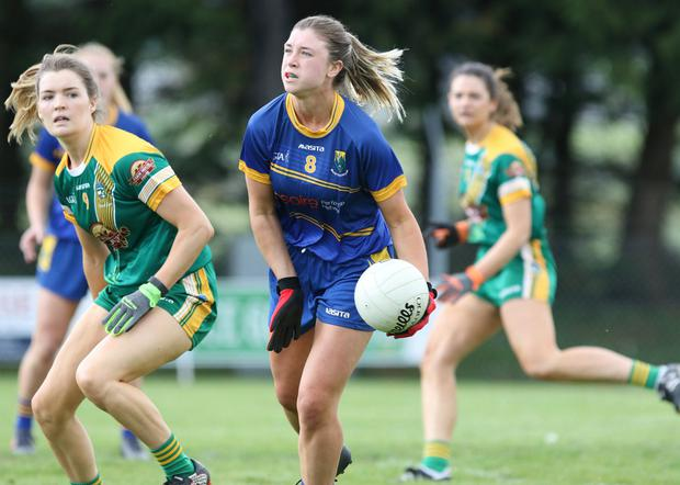 Wicklow's Niamh McGettigan looks to offload against Meath in Roundwood