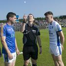 Wicklow captain Seanie Furlong and Cavan's Dara McVeety with match referee Jerome Henry