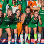 Ireland players, from left, Yvonne O'Byrne, Nicola Daly, Roisin Upton, Deirdre Duke, Zoe Wilson, Elena Tice, and Lizzie Colvin celebrate with their silver medals at the Hockey World Cup