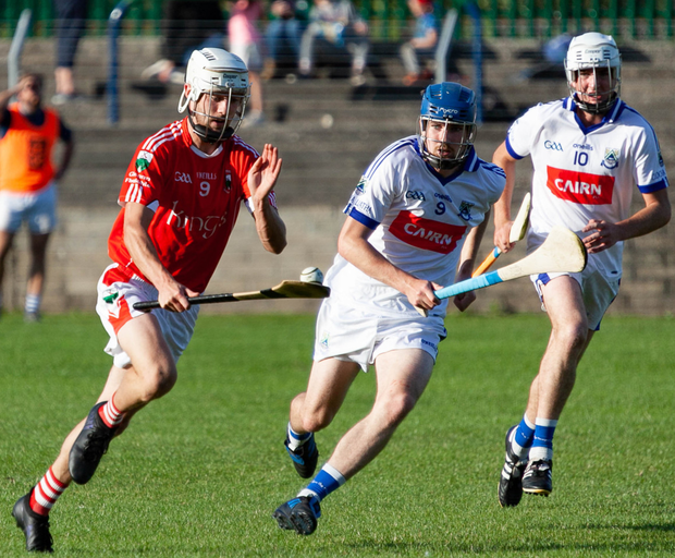 Éire Óg's Sean Lawless trying to get to Glenealy's Paul O'Brien during the Dacia Cars Senior Hurling Championship clash in Pearse's Park, Arklow