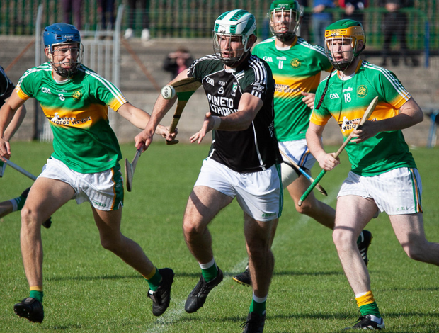 Avondale's Eoin Baker wins possession during the IHC clash against Kilcoole in Pearse's Park