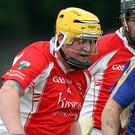 Carnew's Jonathan Smyth drives forward during the IHC meeting with Glenealy in Joule Park Aughrim