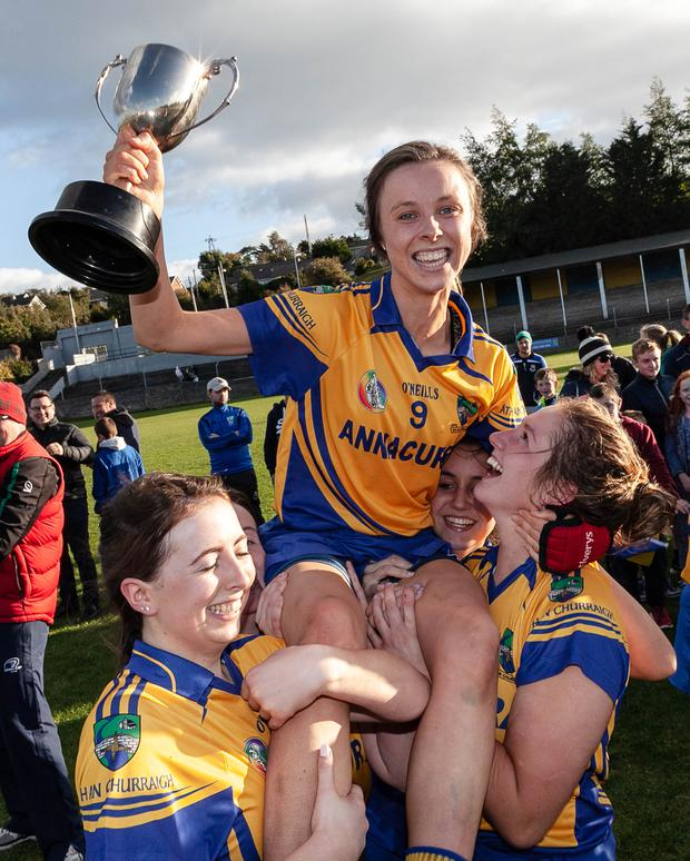 Annacurra captain Niamh Shannon is hoisted high in Pearse's Park.