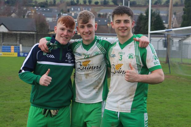 Ciaran Germaine, Adam McHugh and Paddy Kirwan after the victory over AGB in the under-21 'A' final