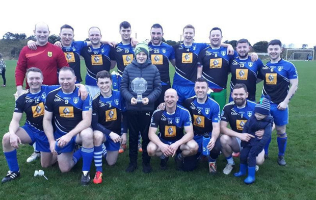 The Blessington GAA team who stopped Blessing FC's drive for five titles in the Ray Daniels Memorial Cup clash in Blessington last Saturday