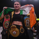 A delighted Katie Taylor after her wonderful victory over Rose Volante