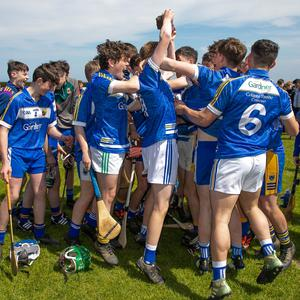And the celebrations begin! Coláiste Bhríde players dance in Dubnur Park after defeating Maynooth PP in the Leinster decider. Photo: Paul Messitt