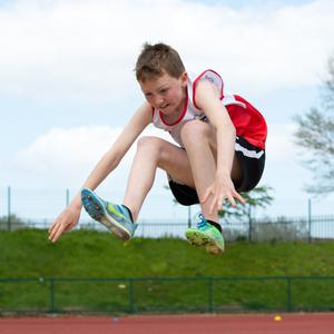 Colm O'Neill in the under-14s long jump