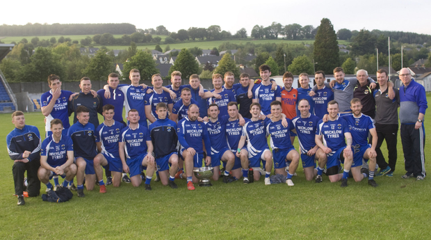 The St Patrick's footballers after their Dunne Cup final win over Baltinglass. Photos: Joe Byrne