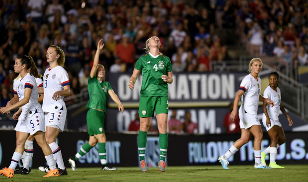 Blessington's Louise Quinn reacts after a missed opportunity for Ireland