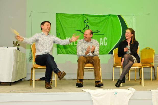 John O'Toole interviewing the club's international athletes Shay Faulkner and Fionnuala McCormack at the Kilcoole AC 50th anniversary celebrations last weekend