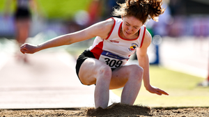 Ellen McNally of Greystones and District AC competing in the Junior Women's Triple Jump during day two of the Irish Life Health National Junior Track and Field Championships at Morton Stadium in 2020. Photo by Ben McShane / Sportsfile