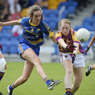 Wicklow's Amy Ryan has her shot blocked by Wexford's Marguerite Doyle