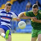 Blessington's Eoin Keogh gets his shot away despite the efforts of Annacurra's Paul McDonald during the SFC in Aughrim. Picture: Garry O'Neill