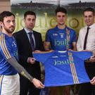 Wicklow players, from left; Stephen Kelly, Ross O'Brien and John McGrath with Ian Barrett, Managing Director of Joule and Eoin Naughton, Sales Manager with Joule.