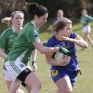Marie Kealy of Wicklow is challenged by Fermanagh's Aine McHugh