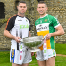 Seanie Furlong of Wicklow with Anton Sullivan of Offaly during the Launch of the 2018 Leinster Senior Football Championship at Trim Castle in Trim,Co Meath