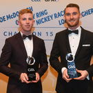 Wicklow hurlers, from left, Warren Kavanagh and John Henderson, with their Christy Ring Champion 15 Awards during the PwC All Stars 2018 at the Convention Centre in Dublin. Photo by Eoin Noonan/Sportsfile