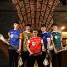 Dónal Sheahan of Longford, Tommy Collins of Wicklow Gold, Zac Lennon of Louth, Cormac Smith of Cavan and Ciaran Mulvey of Kildare Cadets at the launch of the Bank of Ireland Celtic Challenge 2019 at the EPIC Museum, CHQ Building in Dublin