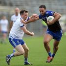 Anthony McLoughlin of Blessington is challenged by Wayne Doyle of St Pat's