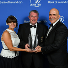 Bert Nicholson, President, Wicklow RFC, accepts the award on behalf of Wicklow RFC for the Bank of Ireland Junior Club of the Year, from Sharon Woods, Bank of Ireland and President of Leinster Rugby Niall Rynne