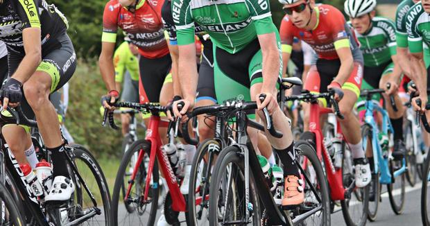 Liam Curley (centre) competing with the Team Ireland Junior cycling team in France