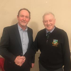 Incoming Captain Liam Horgan received the Captains Blazer for 2020 at the Baltinglass Golf Club AGM from Club Captain Martin Hennessy