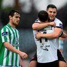 27 July 2014; Patrick Hoban, Dundalk, right, celebrates with teammate Kurtis Byrne after scoring their side's third goal. SSE Airtricity League Premier Division, Dundalk v Bray Wanderers. Oriel Park, Dundalk, Co. Louth. Picture credit: Paul Mohan / SPORTSFILE
