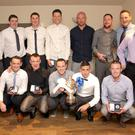 Andy McEvoy Premier Division winners and Wicklow Cup runners-up with their managers Clifton Conyard and Alan Dignam at the Ashford Rovers awards night at the Woodpecker, Ashford