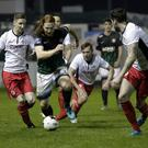 Hugh Douglas bursts forward against St Patrick's Athletic