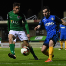 Karl Moore of Bray Wanderers in action against Connor Ellis of Cork City