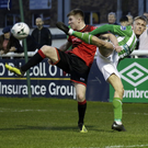 Conor Kane of Drogheda United and Dean O'Halloran of Bray Wanderers battle for possession