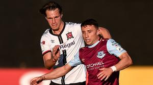 Chris Lyons scored his first goal of the season for Drogheda United, but they lost out 2-1 to local rivals Dundalk. Photo by Ben McShane / Sportsfile