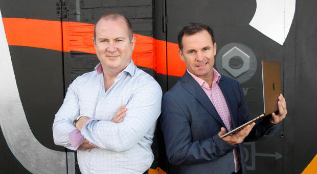 Linked Finance CEO Niall Dorrian (left) with Marc O'Dwyer of Big Red Cloud (right), a Linked Finance user