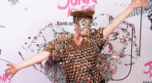 Dan Bissett from Belvedere College Dublin pictured wearing his design Holy Matri-Phoney, made using old mass leaflets, past exam papers, coffee capsules and tooth picks will perform at this year's Bank of Ireland Junk Kouture grand final.