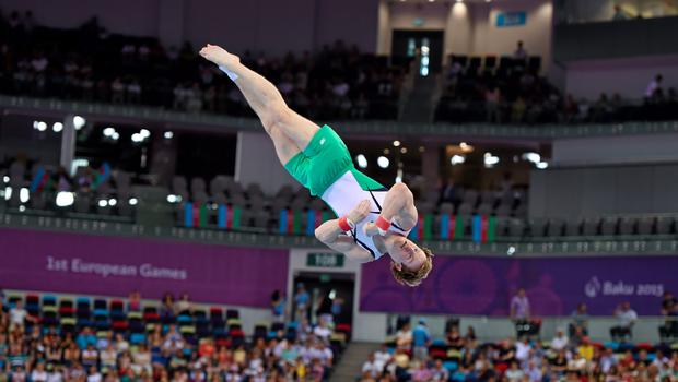 Kieran Behan, Ireland, competes during the final of the Artistic Gymnastics Men's Floor Exercise event at the 2015 European Games in Baku