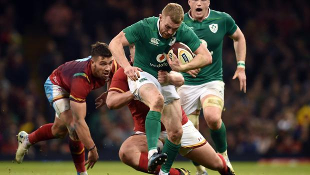 Keith Earls, with ball, faces a fitness battle to shake off a groin problem in time for Ireland's Six Nations clash with England