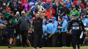 Shane Lowry celebrates his Open victory at Royal Portrush last July. Photo: Sportsfile
