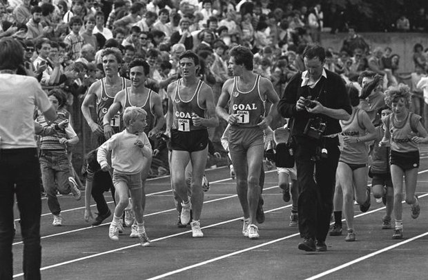 Frank O'Mara, Marcus O'Sullivan, Ray Flynn and Eamonn Coghlan after setting a world record for the 4 x 1mile relay in a time of 15:49:99 at Belfield in 1985   Photo: Ray McManus