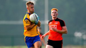 Dublin star Jonny Cooper in action yesterday against Eoghan MacGiolla Phádraig in the Dublin SFC. Cooper's Na Fianna defeated Ballinteer St John's by 2-10 to 0-8 at Balgriffin. Photo: Sportsfile